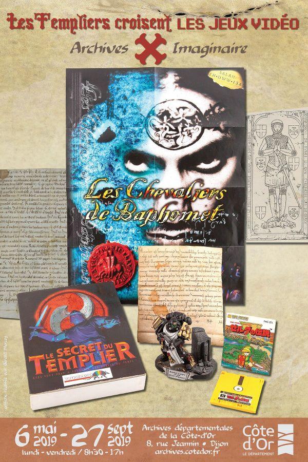 """Affiche de l'exposition """"Les Templiers croisent les JEUX VIDEO"""" - Archives Départementales de la Côte-d'Or-  Dijon"""