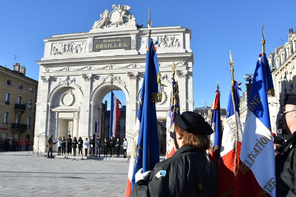 Nancy (Meurthe-et-Moselle), inauguration du Mémorial Désilles, le 11 novembre 2018.