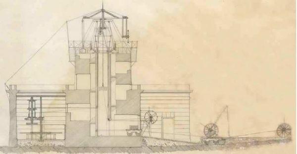 Phare de Gatteville, gravure de la construction