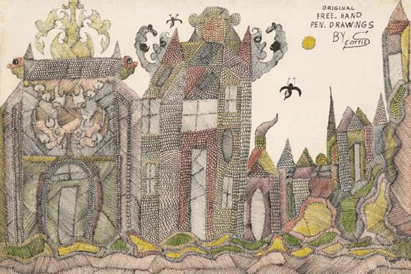 Gouache sur papier, 35 x 50,9 cm. Collection B. D. Scottie Wilson (Louis Freeman, dit), sans titre, non daté. Encre et crayon de couleur sur papier, 27,5 x 37,5 cm. Collection B. D.