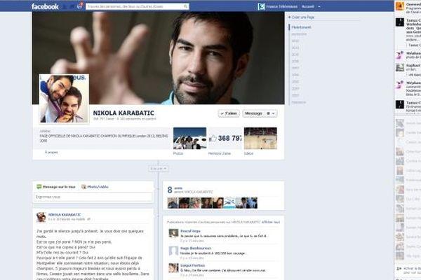 La page facebook de Nikola Karabatic