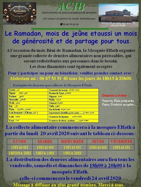 L'organisation de la collecte des denrées pendant le Ramadan à la mosquée Al-fath de Bourges