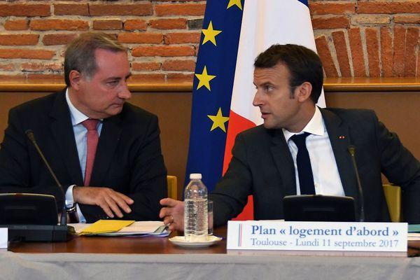 Jean-Luc Moudenc avec Emmanuel Macron lors de la visite du Président de la République à Toulouse