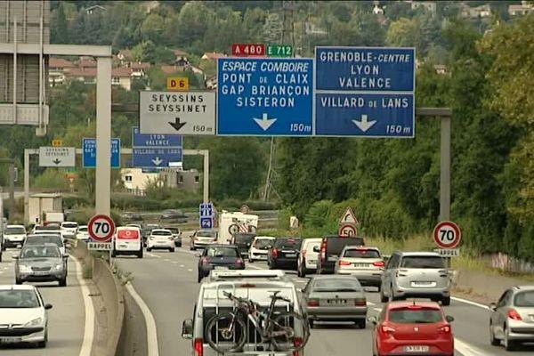 La rocade de Grenoble, à proximité de l'échangeur du Rondeau.
