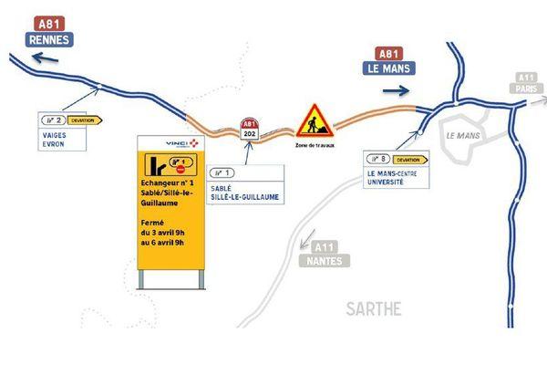 Fermeture de l'échangeur Sablé-Sillé sur l'autoroute A81