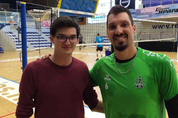 Florent avec Xavier Kapfer, le capitaine du Rec Volley 35