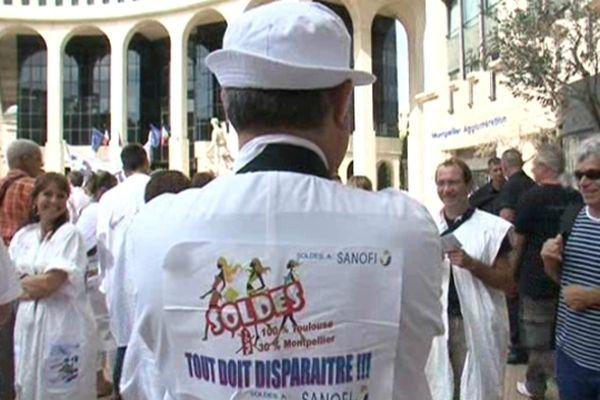 Manifestation des Sanofi de Montpellier en juillet 2012. Le premier jeudi de la colère.