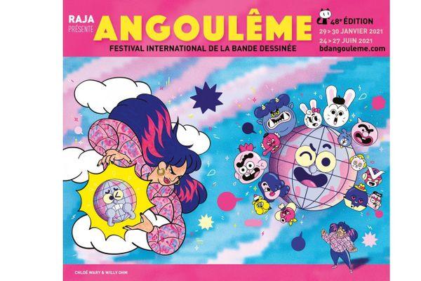 C'est justement Chloé Wary, Fauve Prix du Public France Télévisions en 2020, en collaboration avec Willy Ohm, qui signe l'affiche du FIBD 2021