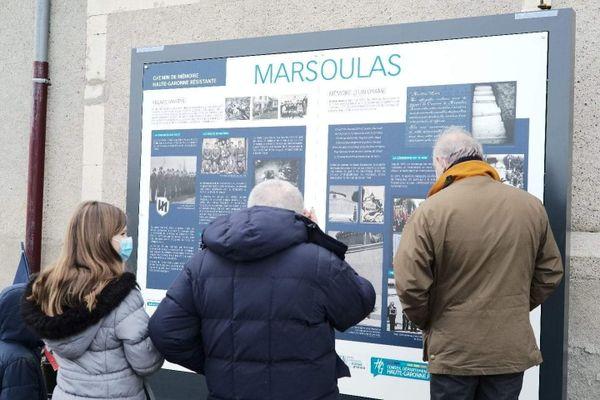 Un panneau installé à Marsoulas pour se souvenir du massacre de 27 villageois le 10 juin 1944