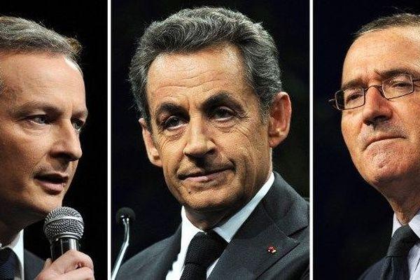 Bruno Le Maire (député de l'Eure), Nicolas Sarkozy (ancien président de la République) et Hervé Mariton (député de la Drôme) sont candidats à la présidence de l'UMP