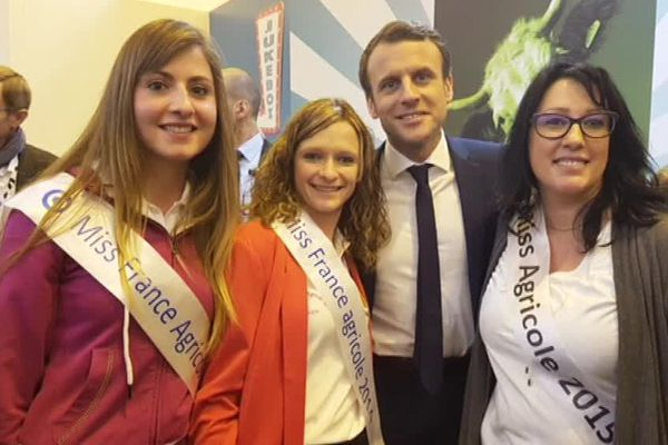 Les miss agri ont pu approcher le candidat Emmanuel Macron