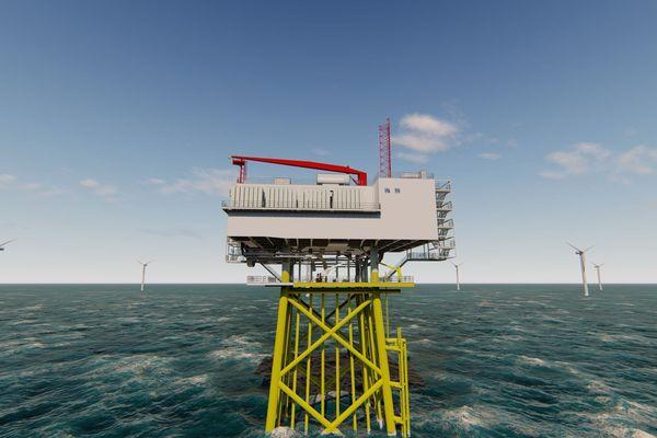 Les Chantiers de l'Atlantique à Saint-Nazaire ont reçu commande par EDF Renouvelables d'une sous station de type S34 pour le parc éolien de Fécamp en Normandie