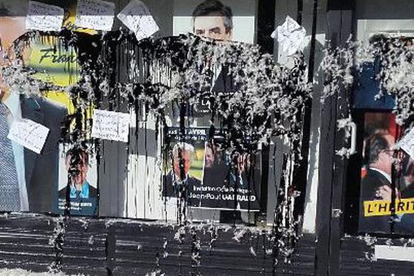 La permanence de Jean-Paul Garraud a été vandalisée dans la nuit du 17 au 18 avril 2017 à Libourne.