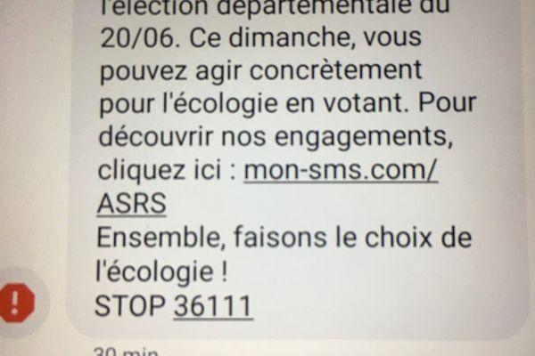 Le SMS a été envoyé sur le téléphone portable de milliers d'électeurs du canton de Tournefeuille en Haute-Garonne.