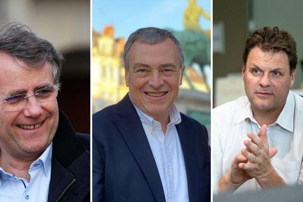 Serge Grouard, Olivier Carré et Jean-Philippe Grand, candidats aux municipales 2020 à Orléans pour le second tour.