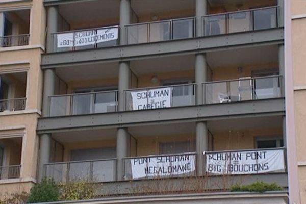 Des habitants du quai Gillet (Lyon 4e) fermement opposés à la construction du futur pont Schuman.