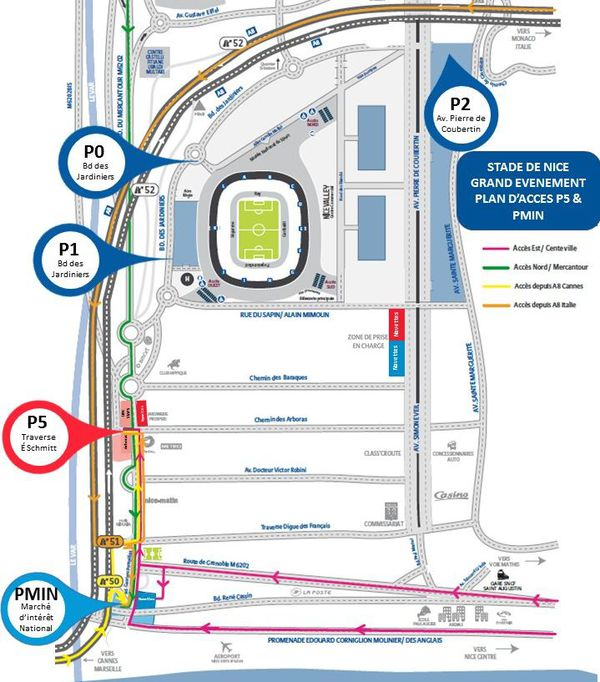 La carte des parkings du stade de l'Allianz Riviera.
