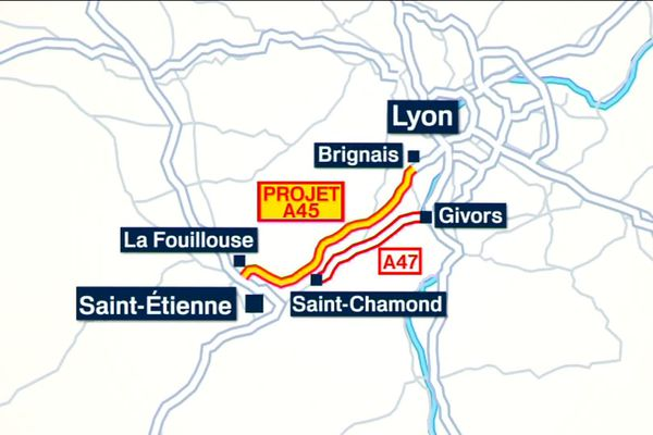 Le tracé de l'A45 devait relier Saint-Etienne à Lyon, et constituait en théorie le dernier barreau d'une liaison trans-européenne.