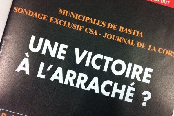 14/03/14 - Municipales à Bastia: un sondage paru dans le Journal de la Corse donne les candidats Jean Zuccarelli et Gilles Simeoni au coude-à-coude