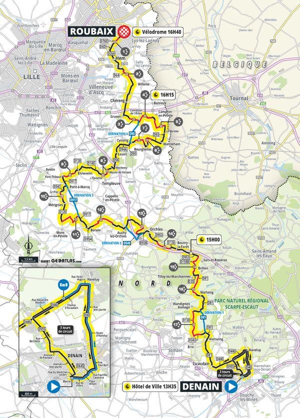 Tracé du premier Paris-Roubaix Féminin, le samedi 2 octobre prochain.