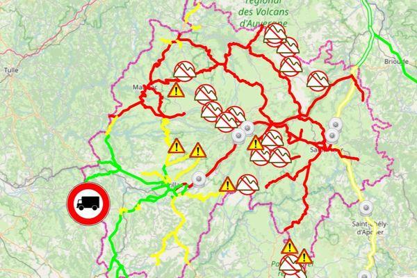 En rouge : circulation difficile En jaune : circulation délicate  En vert : aucune difficulté signalée