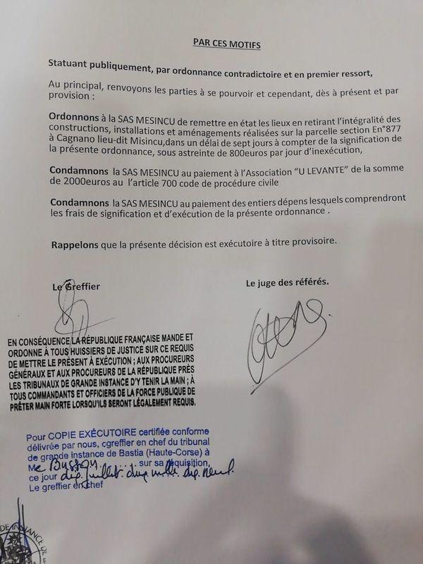 les conclusions du tribunal de grande instance de Bastia, publiées par l'association U Levante sur son site