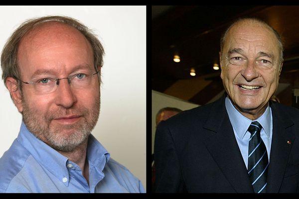 A gauche Pierre-Alain Brossault, le premier plaignant dans l'affaire des emplois fictifs à la mairie de Paris, à droite Jacques Chirac.