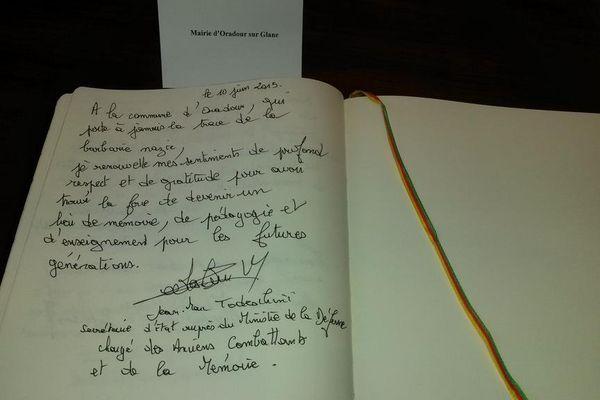 Le message de Jean-Marc Todeschini, Secrétaire d'État chargé des Anciens Combattants et de la Mémoire à la mairie d'Oradour