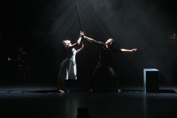 Les deux danseurs ont pu s'entra^ner avec le quatuor à cordes durant cette résidence de quinze jours à la Méca à Bordeaux.
