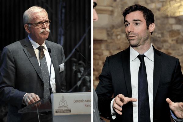 Deux meetings se font face, jeudi 4 mai, à Auxerre. D'un côté le front républicain qui appelle à voter Macron (incarné par Jean-Yves Caullet, à gauche), de l'autre le Front national, derrière Marine Le Pen (à l'initiative de Julien Odoul, à droite).