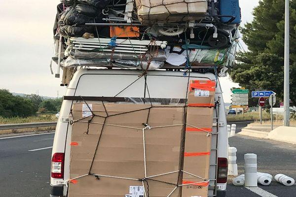 Sète (Hérault) - une camionnette en surcharge de 4 tonnes ! - 3 juillet 2018.