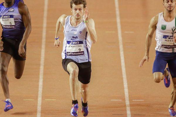 Christophe Lemaitre lors des séries du 60 mètres à Bordeaux le 18/02/2017.