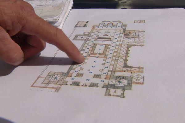 Plan de l'église de l'ancienne abbaye Saint Médard à Soissons