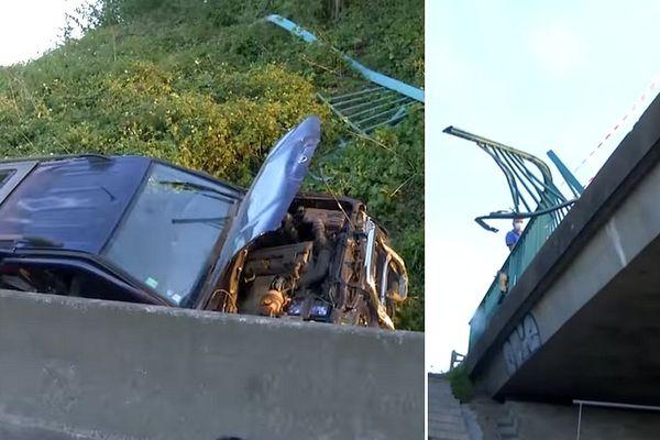 La voiture a chuté d'un pont qui enjambe l'A25 rue de Steenwerck à Bailleul.