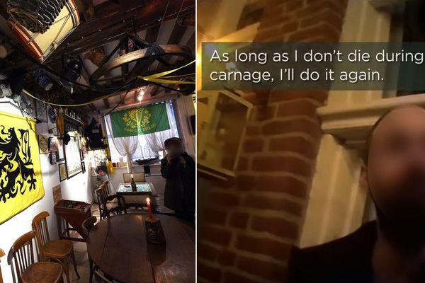 """""""Tant que je ne meurs pendant le carnage, je recommence"""", déclare un homme filmé en caméra cachée dans l'arrière-cour du bar """"La Citadelle"""" à Lille."""