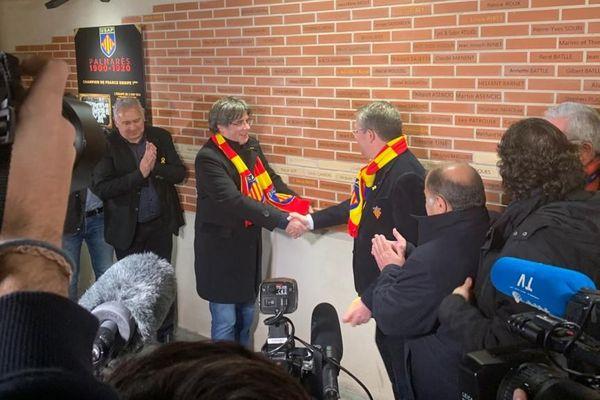 François Rivière et Carles Pugdemont se rencontrent à l'occasion du match Perpignan- Rouen