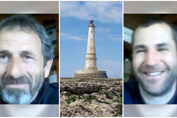 Stéphane Caillon (à gauche) et Mathieu Latapie (à droite) sont actuellement les deux gardiens du phare de Cordouan.