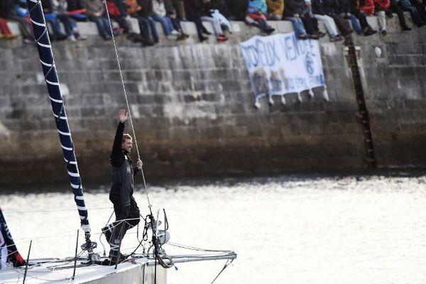 """Thomas Ruyant à bord de son voilier """"Le Souffle du Nord - Projet Imagine""""."""