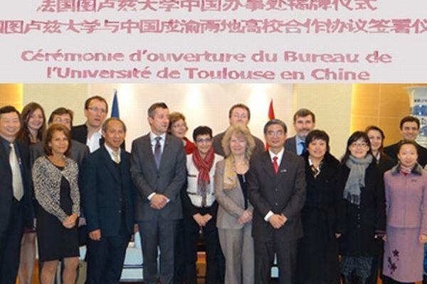 La délégation toulousaine était conduite par Marie-France Barthet, président de l'Université de Toulouse.