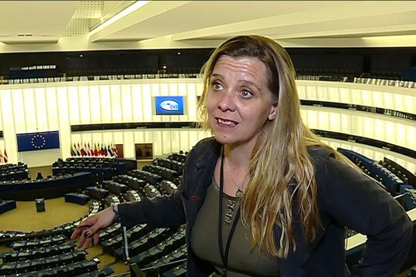 Anne-Sophie Pelletier, députée européenne La France insoumise, pour son premier jour à Strasbourg.