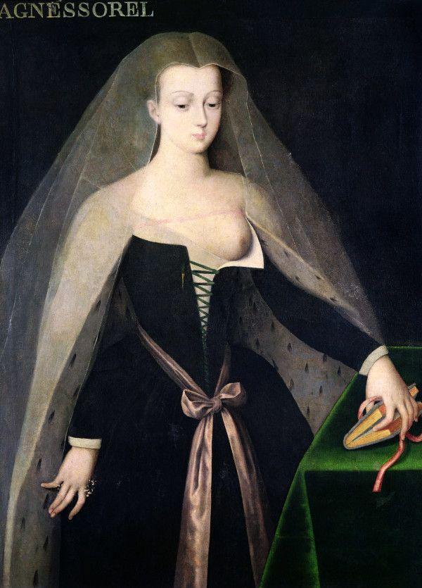 Portrait d'Agnès Sorel, favorite du roi de France Charles VII, inspiré de la Vierge du diptyque de Melun, XVIe siècle