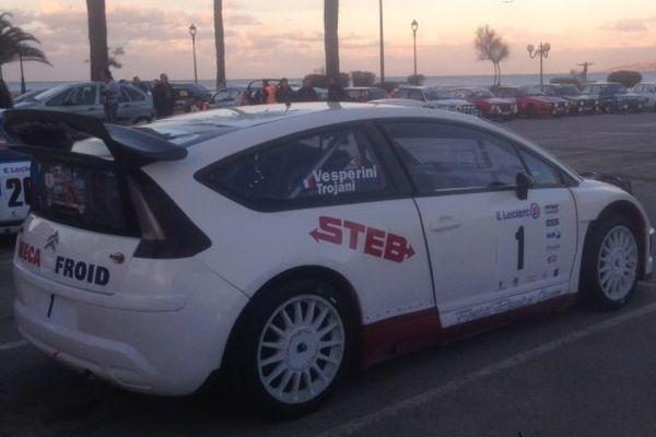 Rallye de Balagne 2014 - La Citroën C4 WRC de Pascal Trojani, dernier vainqueur de l'épreuve dans le parc fermé