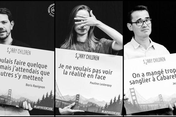 """De gauche à droite : Boris Ravignon, maire de Charleville, Pauline Lesterquy, bénévole à """"Notre affaire à tous"""" et Jean Perrissin, responsable du développement durable au Cabaret Vert, ont trouvé leur pire excuse"""