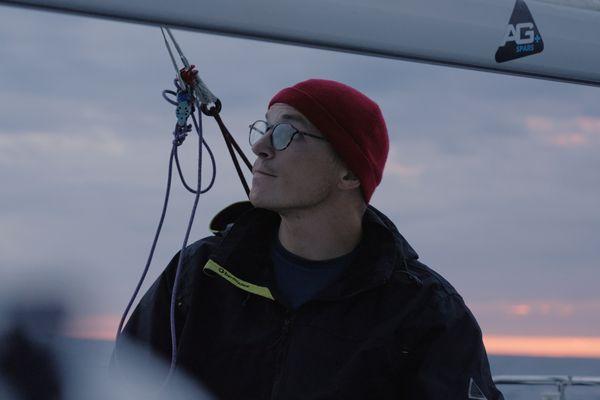 Le skipper Jean Marre au départ de la Mini-Transat