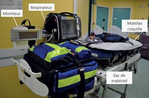 Ci-dessus une civière pédiatrique adaptée.