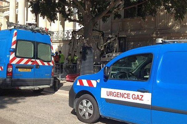 Nîmes - fuite de gaz devant le palais de justice - 8 juillet 2015.