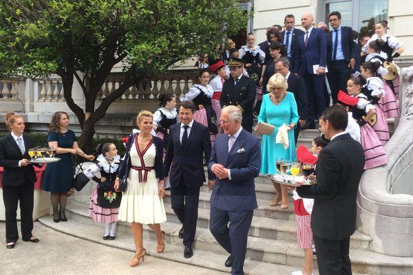 Le Prince de Galles et sa femme, la Duchesse de Cornouailles sont en France. Nice, ce lundi soir Villa Massena.
