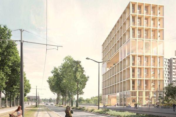 Le projet de tour en bois, dans le quartier Rive Gauche-Masséna-Bruneseau.