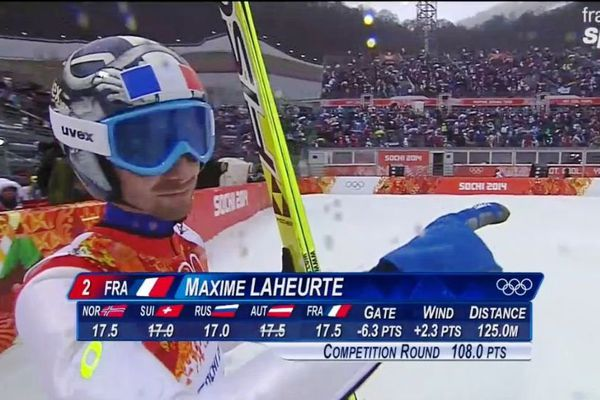 Maxime Laheurte a effectué un saut de 125 mètres dans la première épreuve du combiné nordique, à l'occasion de l'épreuve individuelle des JO de Sotchi 2014, mardi 18 février.