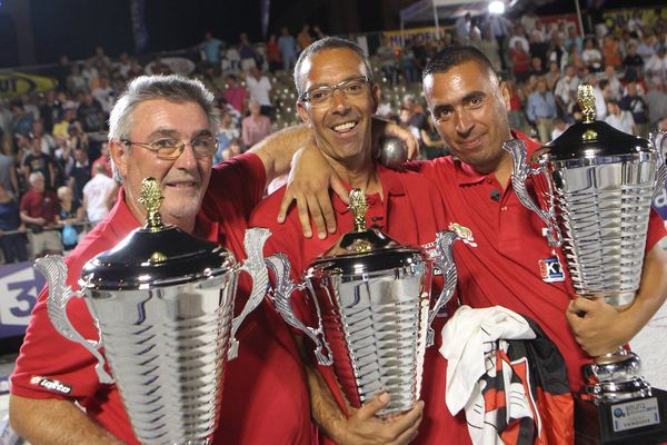 Bettoni, Lakhal et N'Guyen, la triplette gagnante de l'Europétanque 2013 de Nice
